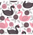 white seamless pattern with pink and black princes vector image