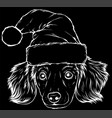 white silhouette dog face with christmas hat vector image