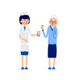 woman doctor or nurse gives sick glass of water vector image vector image