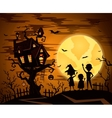 Halloween party background with castle silhouette vector image