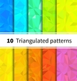 Ten triangulated seamless patterns in rainbow vector image
