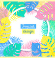 tropical flowers and palms summer background with vector image
