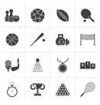 Black Sport equipment icons vector image