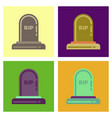 assembly flat icons halloween stone grave vector image vector image