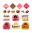 bakery and confectionery products logos and icons vector image vector image
