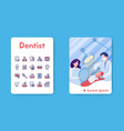 banner dentist with linear icons set vector image vector image