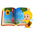 beehive scenery in the book and kid vector image