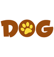 Brown Dog Text With Paw Print vector image vector image