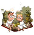 cartoon angels in plants are sitting vector image vector image