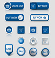 Collection web blue buttons and pointers for vector image vector image