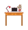 colorful graphic of work place office interior vector image vector image