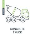 concrete truck icon construction mixer vehicle vector image