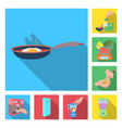 cooking food flat icons in set collection for vector image vector image