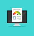 credit score online report document on computer vector image vector image