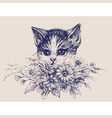 cute cat portrait with a bunch of flowers vector image vector image