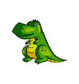 cute smiling green colorful dinosaur with yellow vector image vector image