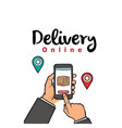 delivery online hand holding smartphone background vector image