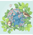 earth day with globe and birds vector image
