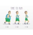 Fat man running to slim shape Sport and fitness vector image