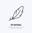 feather flat line icon sign for soft vector image vector image