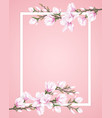 frame decorated with flower branches vector image vector image