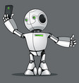 funny kid robot does selfie on the phone vector image
