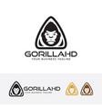 gorilla head logo design vector image vector image