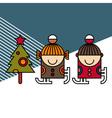 Ice skating kids and Christmas tree vector image vector image