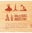 Industry icons pained over wood vector image