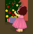 little girl decorated christmas tree vector image vector image