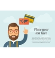 Man pointing the credit cards icon vector image vector image