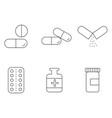 medicine drugs icon outline set eps vector image
