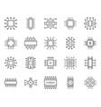 microchip simple black line icons set vector image