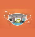 modern cafe interior protective mask coronavirus vector image vector image
