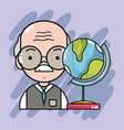 Old teacher with global map desk vector image
