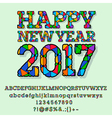 Patched bright Happy New Year 2017 greeting card vector image vector image