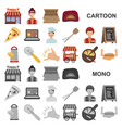 pizza and pizzeria cartoon icons in set collection vector image vector image