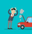 problem is the businessman the car broke down vector image
