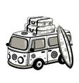 Retro travel bus vector | Price: 3 Credits (USD $3)
