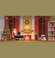 santa claus in living room decorated for christmas vector image