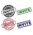 scratched textured invite stamp seals vector image vector image