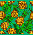 seamless pattern with pineapples and tropical vector image