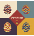 set 4 geometrical patterned eggs vector image vector image