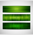set of green striped banners vector image