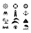 set of summer holiday icon vector image vector image