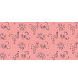 simple hand drawn flower pattern and pink stripes vector image