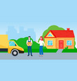 smiling delivery man with cardboard box and happy vector image