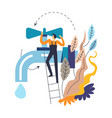 tap and plumber in overalls on ladder isolated vector image vector image