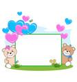 teddy bear with heart frame vector image vector image