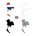 Thailand country black silhouette and with flag on vector image vector image